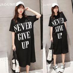 Au Naturel - Lettering Hooded Short Sleeve T-Shirt Dress