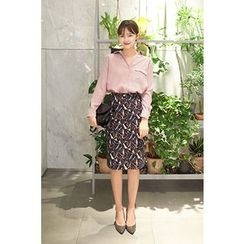 CHERRYKOKO - Geometric Pattern Pencil Skirt
