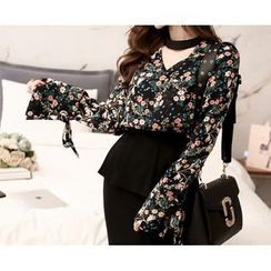 Marlangrouge - Two-Way Floral Pattern Blouse