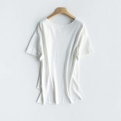 LA SHOP - V-Neck Knit Short-Sleeve T-Shirt