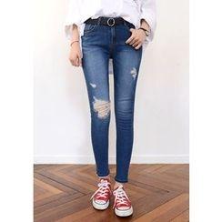 DEEPNY - Distressed Skinny Jeans