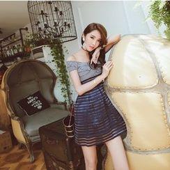 Tang House - Off Shoulder Striped Mesh Trim Dress
