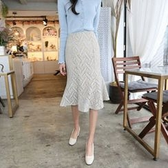 Hello sweety - Ruffle-Hem Patterned Skirt