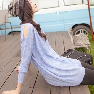 Tokyo Fashion - Woven-Pattern Slit-Sleeve Knit Top