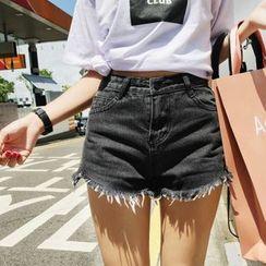 SHERRY - Studded High-Waist Denim Shorts