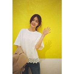 CHERRYKOKO - Lace-Hem Cotton T-Shirt