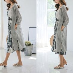 JUSTONE - Open-Front Linen Blend Long Cardigan