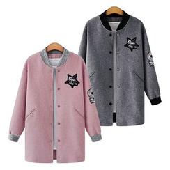 VIZZI - Applique Long Baseball Jacket