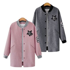 VIZZI - 貼布繡長款棒球夾克