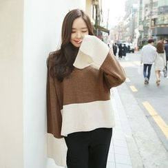 Envy Look - Mock-Neck Color-Block Knit Top