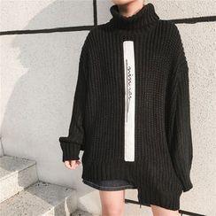 MePanda - 字母貼布繡樽領粗織毛衣
