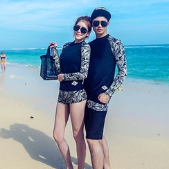 Anfory - Couple Matching Set: Patterened Rashguard + Swim Shorts