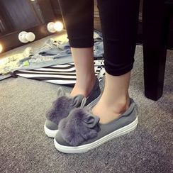 Sunsteps - Rabbit Ear Furry Panel Slip-Ons