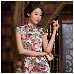 Janelle Qipao - Cap-Sleeve Flower Cheongsam