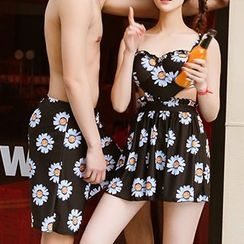 Sweet Splash - Daisy Print Swimdress / Couple Matching Swim Trunks