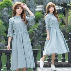 Diosa - Elbow-Sleeve Pinstripe Buttoned Dress