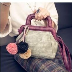 Aishang - Top Handle Cross Body Bag with Pom Pom Charm