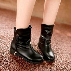 Shoes Galore - Faux Leather Ankle Boots