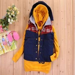 PUDDIN - Set: Hooded Padded Vest + Long-Sleeve Lettering Dress
