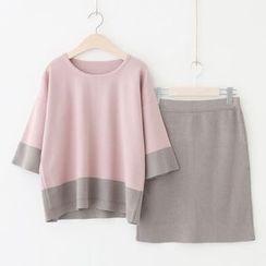 Meimei - Set : Colour Block Knit Top + Skirt