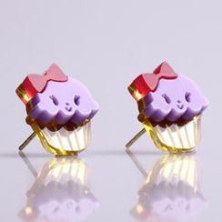 Sweet & Co. - Miss Cupcake Berry Stud Gold Earrings