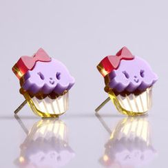 Sweet & Co. - Miss Cupcake Berry Stud Gold Earrings