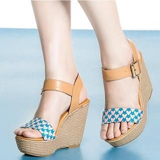 Exull - Heart-Print Wedge Sandals