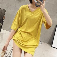 Moon City - Elbow-Sleeve T-Shirt Dress