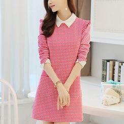 YUMU - Plaid Collared Long Sleeve Dress