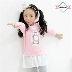 nanakids - Girls Sequined Print Ruffle-Hem Dress