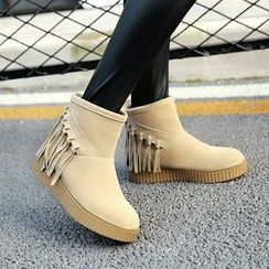 Gizmal Boots - Fringed Fleece-lined Snow Boots