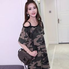 Glen Glam - Camo Short Sleeve Off Shoulder Tunic