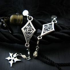 Sterlingworth - Set: Tinted Sterling Silver Ninja Star Single Earring + Tinted Sterling Silver Arrowhead Single Earring
