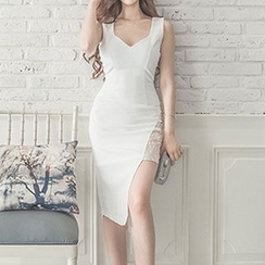 Dimanche - Lace Panel Asymmetrical Sheath Dress