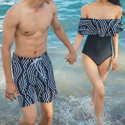 Roseate - Couple Matching Printed Swim Shorts / Swimsuit
