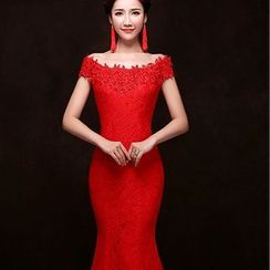 Gracia - Boatneck Lace Mermaid Evening Gown