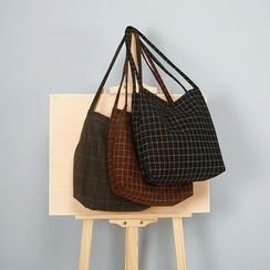 TangTangBags - Canvas Check Shopper Bag