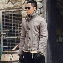Mannmix - Faux Fur Lapel Coat