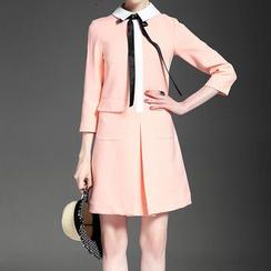 Alaroo - 翻領七分袖連衣裙