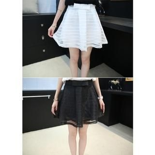 Small Mosquitoes - Striped Bow-Accent Organza Overlay Skirt