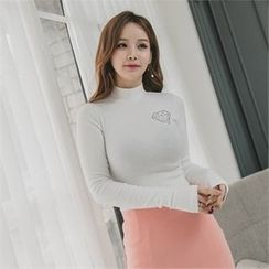 clubber - Mock-Neck Printing T-Shirt