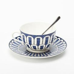 Gukan - Set : Patterned Ceramic Cup + Plate