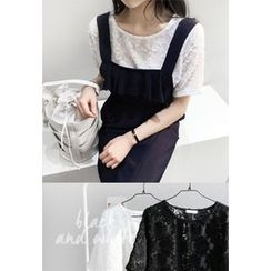 Miamasvin - Round-Neck Short-Sleeve Lace Top