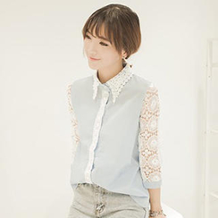QZ Lady - Lace 3/4-Sleeve Blouse