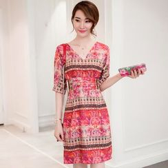 Diosa - Patterned V-neck Short-Sleeve Silk Dress