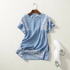 Coolvibe - Short-Sleeve Embroidered Tunic
