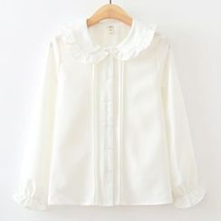 ninna nanna - Pintuck Frill Trim Long-Sleeve Blouse