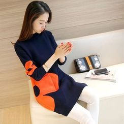 Shomez - Long-Sleeve Flower Knit Dress