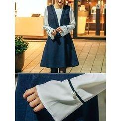 LOLOten - Mock Two-Piece Wool Blend Jumper Dress