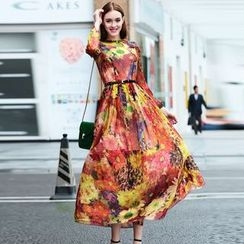 Elabo - Floral Print Long-Sleeve Maxi Chiffon Dress